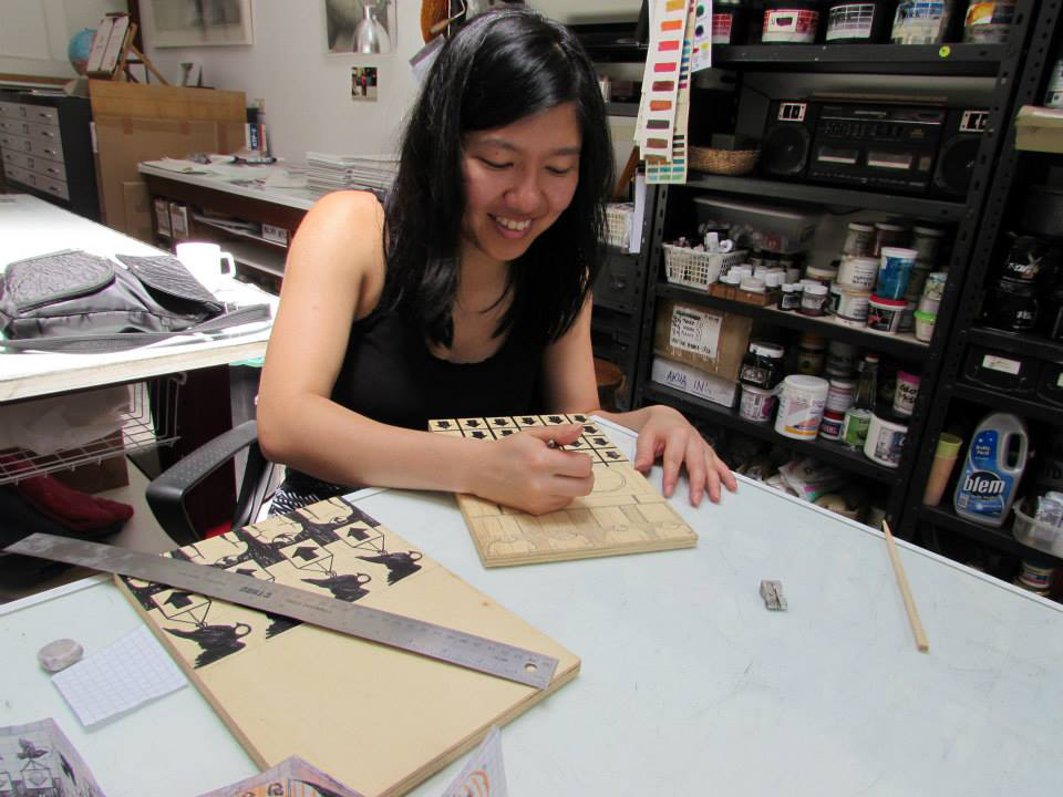 Jenie Gao doing her printmaking thing