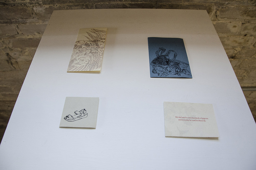 Pamphlets on view at Arts + Literatury Laboratory, Madison, WI.