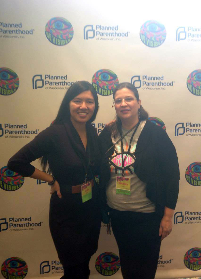 With Veronica Lazo, the director of UNIDOS Against Domestic Abuse in Madison, WI. She's a force to be reckoned with.